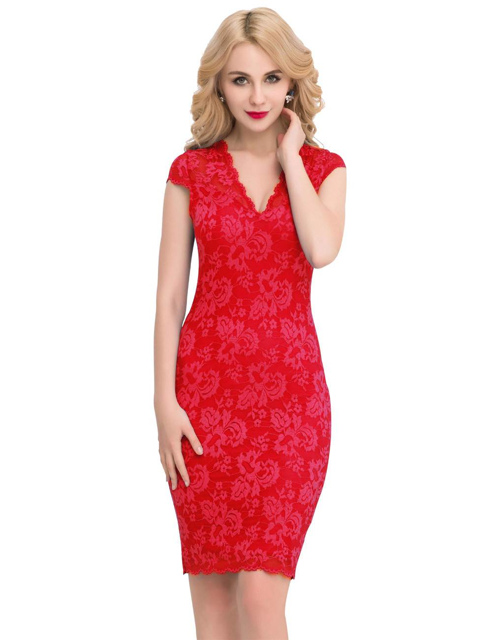 Ohyeah Slim Elegant Lace Half Sleeve Fashion Dress