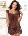 Faux Leather Corset . Brown