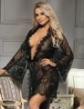 Eyelash Black Lace Sleepwear Gown